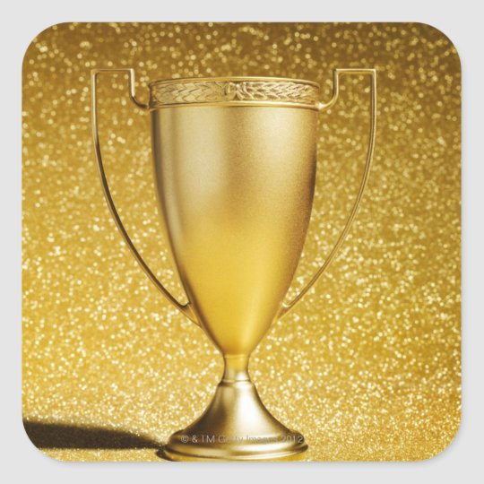 Gold Cup Trophy Square Sticker