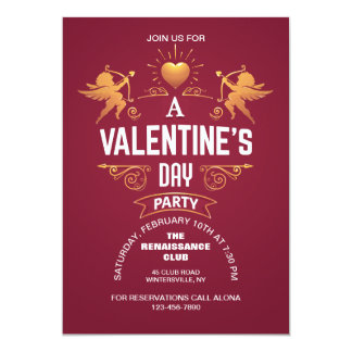 Gold Cupids Valentine's Invitation