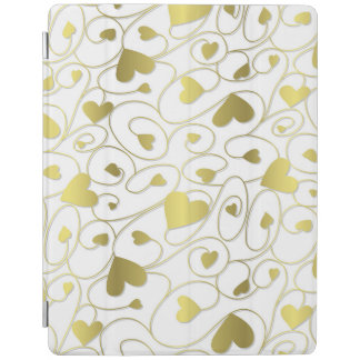 Gold curly hearts iPad cover