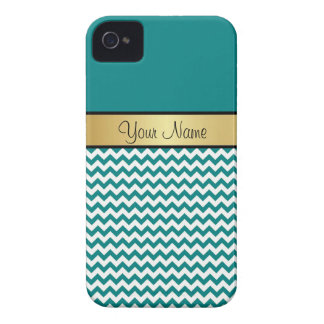 Gold Custom Name. Teal Blue Green & White Chevron iPhone 4 Case-Mate Cases