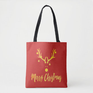 Gold cute minimalist Christmas reindeer on red Tote Bag