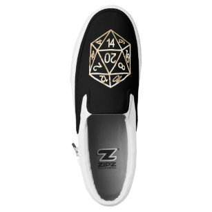 Gold D20 Crit   Tabletop Role Player Dice Slip On Shoes