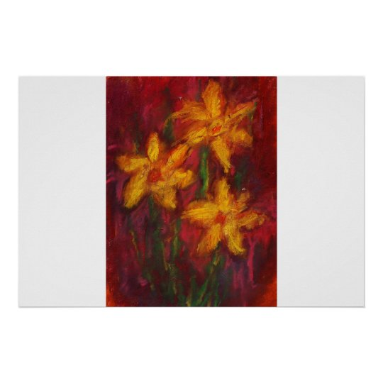 Gold Daffodils in Pink Poster