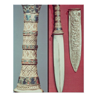 Gold dagger and sheath, Tutankhamun treasure, c.13 Poster