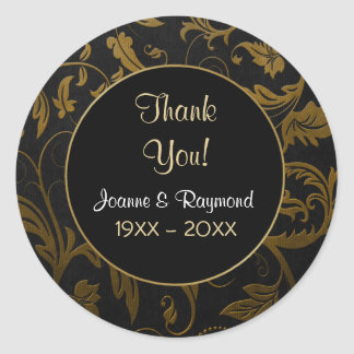 Gold Damask 50h Anniversary - Thank You Sticker