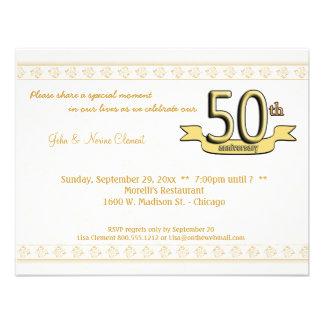 Gold Damask 50th Anniversary Celebration Invite