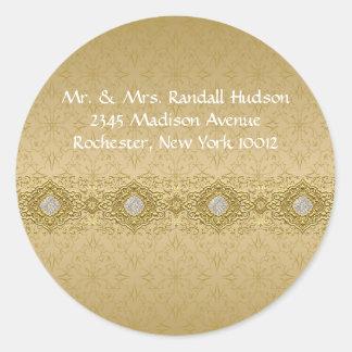 Gold Damask Address Labels Round Sticker