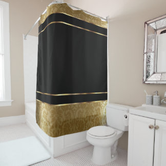 Gold Damask and Black Design Shower Curtain