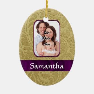 Gold damask and purple ribbon christmas ornament
