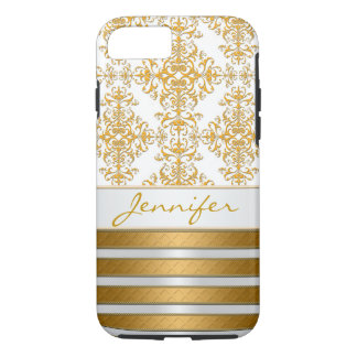 Gold Damask and Stripes Personalized iPhone 8/7 Case