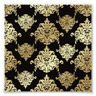gold,damask,antique,vintage,pattern,elegant,black, photographic print