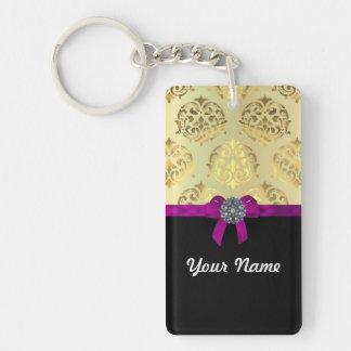 Gold damask & black personalized Double-Sided rectangular acrylic keychain