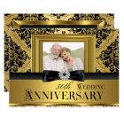 Gold Damask Bow Photo 50th Wedding Anniversary 3 Card