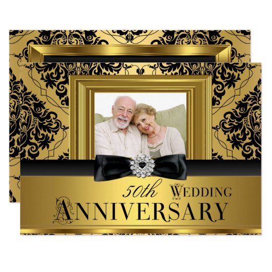 Gold Damask Bow Photo 50th Wedding Anniversary 3