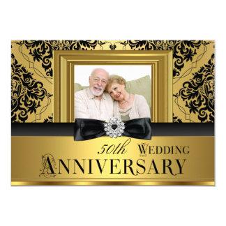 Gold Damask Bow Photo 50th Wedding Anniversary 3 13 Cm X 18 Cm Invitation Card