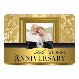 Gold Damask Bow Photo 50th Wedding Anniversary 4 13 Cm X 18 Cm Invitation Card
