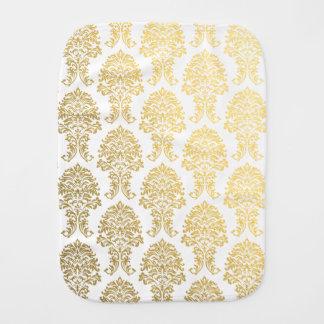 gold damask burp cloth