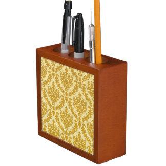 Gold damask desk organiser