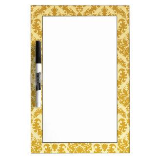 Gold damask dry erase board