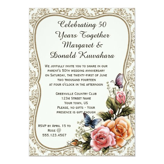 Gold Damask Gold Frame Roses 50th Anniversary Card