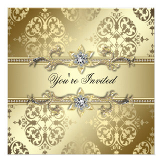 Gold Damask Gold Party Custom Announcement