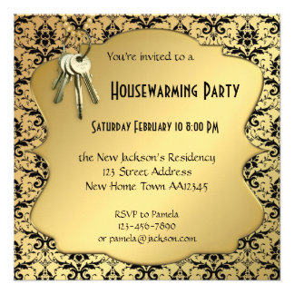 Gold & Damask Housewarming Party Invitation