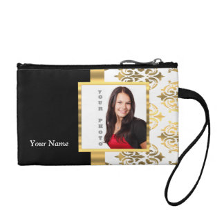 Gold damask instagram photo template coin purse
