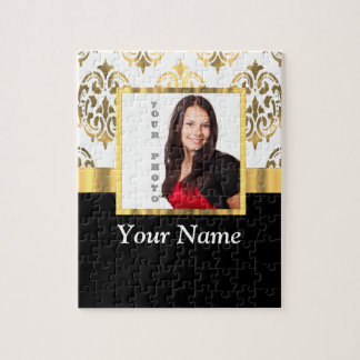 Gold damask instagram photo template jigsaw puzzle