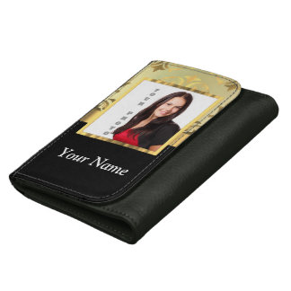 Gold damask instagram photo template leather wallets