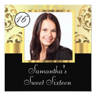 Gold damask instagram  sweet sixteen 13 cm x 13 cm square invitation card