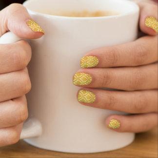 Gold damask minx nail art