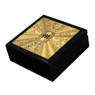 Gold damask monogram gift box