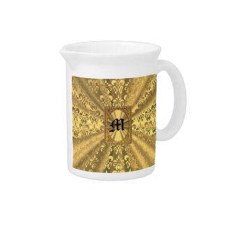Gold damask monogram pitcher