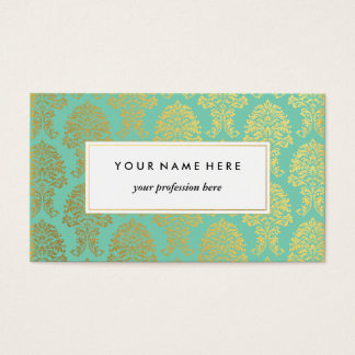 Gold Damask on Mint Green Pattern Business Card