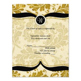 Gold Damask Paisley Wedding RSVP Card