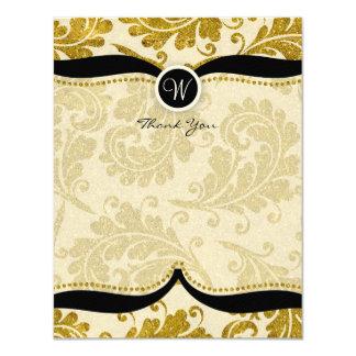 Gold Damask Paisley Wedding Thank you 4.25x5.5 Paper Invitation Card