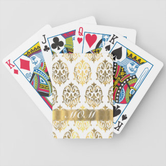 Gold damask pattern moms bicycle playing cards