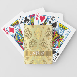 Gold damask personalized mother bicycle playing cards