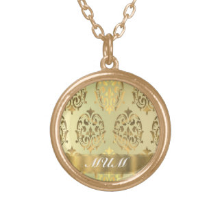 Gold damask personalized mother gold plated necklace
