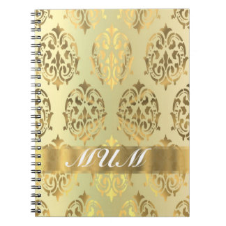 Gold damask personalized mother notebooks