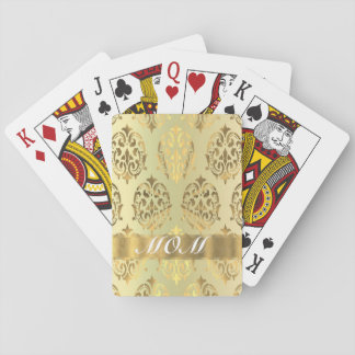 Gold damask personalized mother playing cards