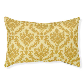 Gold damask pet bed