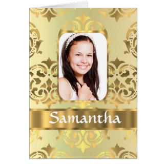 Gold damask photo border greeting card