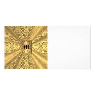 Gold damask photo card