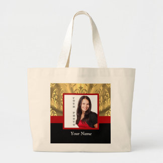 gold damask photo template tote bag