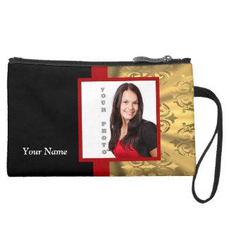 Gold damask photo template wristlet purse
