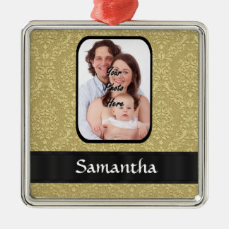 Gold damask photo template christmas ornament