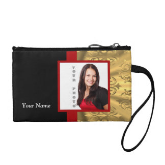 Gold damask photo template coin purse