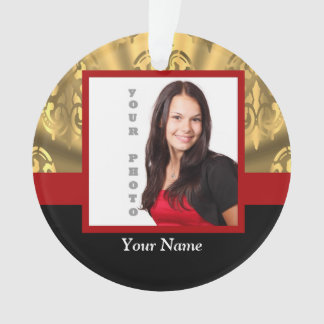 gold damask photo template ornament