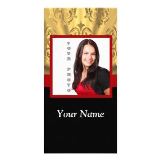 Gold damask photo template photo card